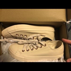 SIZE 6.5 LEATHER CONVERSE TAN/ROSE GOLD